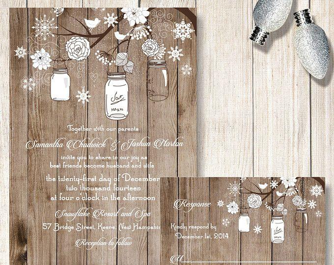 Winter Wedding Invitation, Mason Jar and Snowflake Wedding Invitations, Rustic Winter Wedding Invite/RSVP, Holiday Wedding, December Wedding