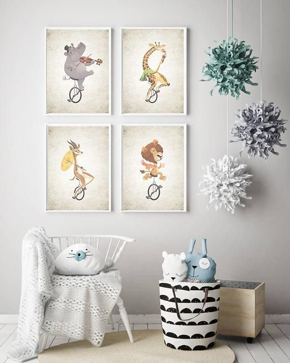 A1 - A5 SIZES JUNGLE ANIMAL NURSERY WALL ART PRINT ONE PIECE POSTER