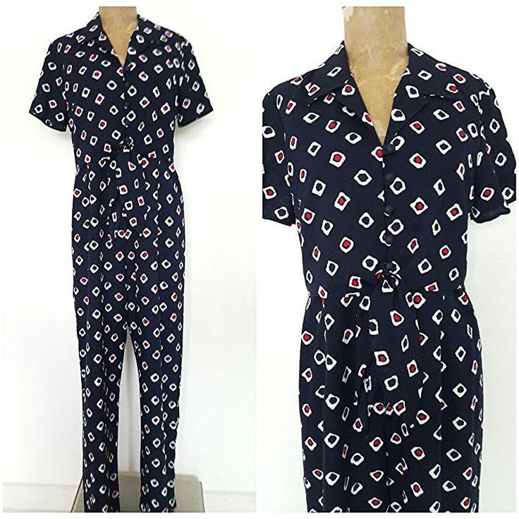 Vintage 80s Festival Jumpsuit Size Medium Pantsuit Navy Blue Ties at Waist  #ShariJ #Jumpsuit
