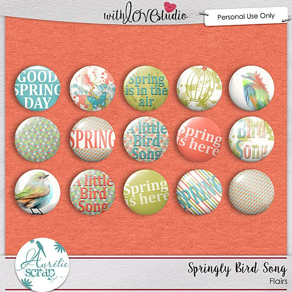 """lairs """"Springly Bird Song"""" by Aurélie Scrap. Some flairs which will embellish your layouts... It contains : 15 flairs"""