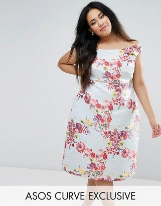 Asos SALON Summer Jacquard Bardot Prom Dress