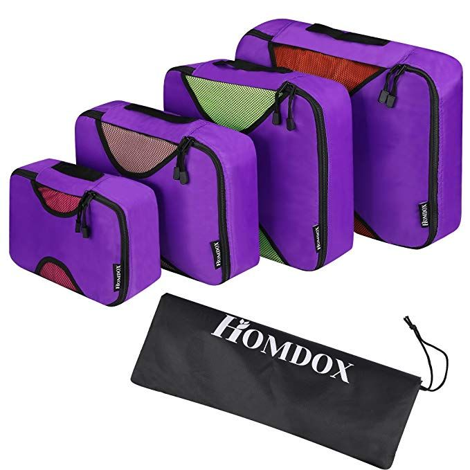 Homdox Packing Cubes 4pc Set Travel Organizers With Laundry Bag Camping Backpacking Organisers Luggage Backpack Bag Re Purple Bags Camping Bag Backpack Bags