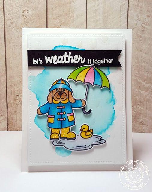 Sunny Studio: Rain or Shine Watercolor Encouragement Card by Heidi Criswell.