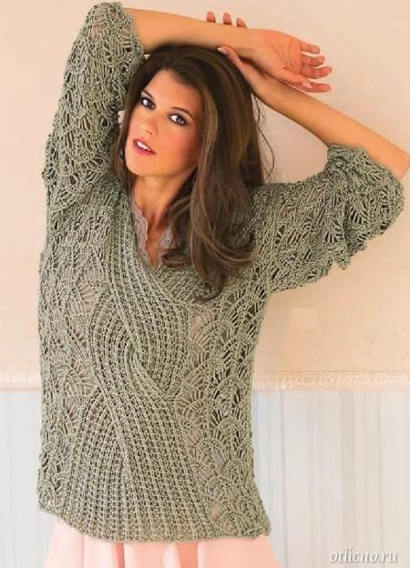 вязаный ажурный пуловер, вязание, вязание для женщин ...