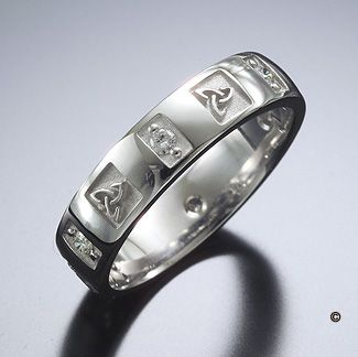 trinity knot diamond wedding ring - Wiccan Wedding Rings