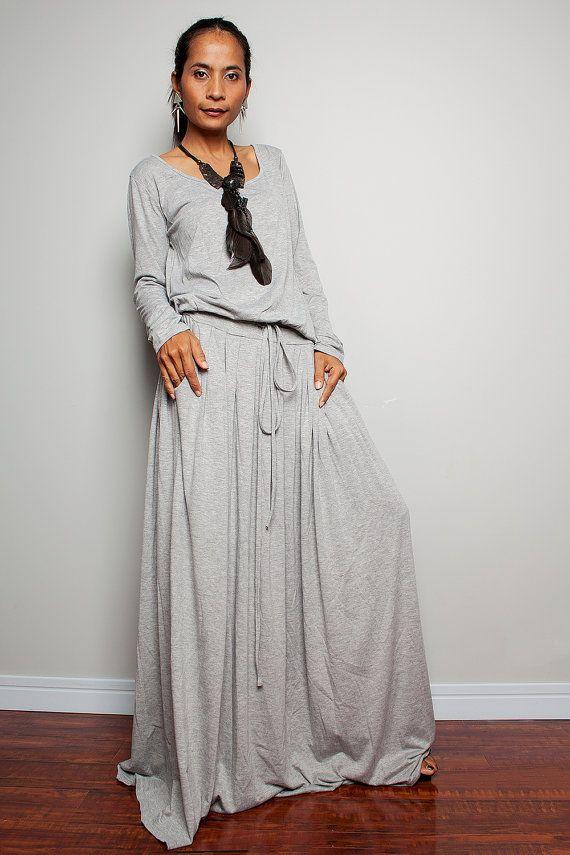 Long Maxi Dress - Light Grey Long Sleeve dress : Autumn Thrills Collection No.1 (Best Seller)