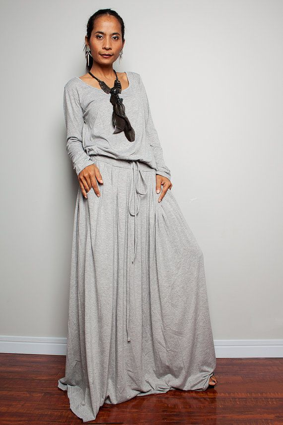 PLUS SIZE Maxi Dress Light Grey Long Sleeve dress : by Nuichan