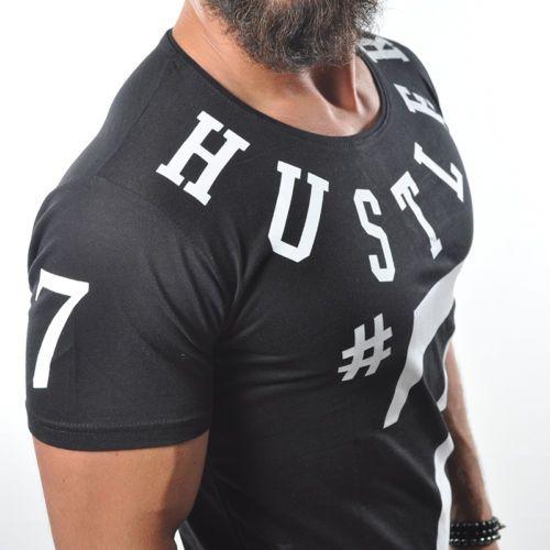 T-Shirt HARLEM #7 HUSTLER Urban Slim Fit Stylish Basic Top Longshirt Tee 942