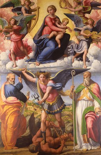 Virgin and Child in Glory with Saints and the Archangel Michael by Innocenzo Francucci da Imola.