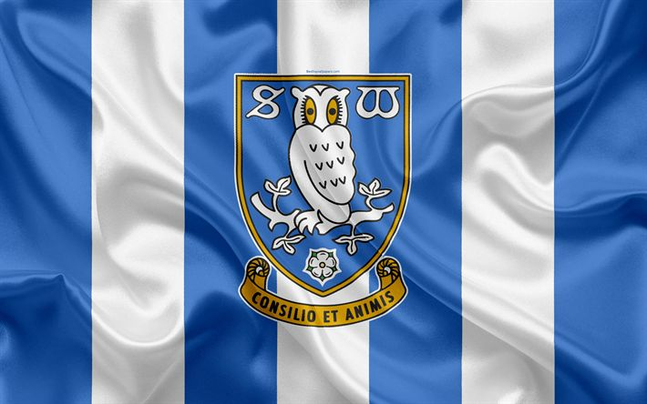 Download wallpapers Sheffield Wednesday FC, silk flag, emblem, logo, 4k, Sheffield, England, English football club, Football League Championship, Second League, football