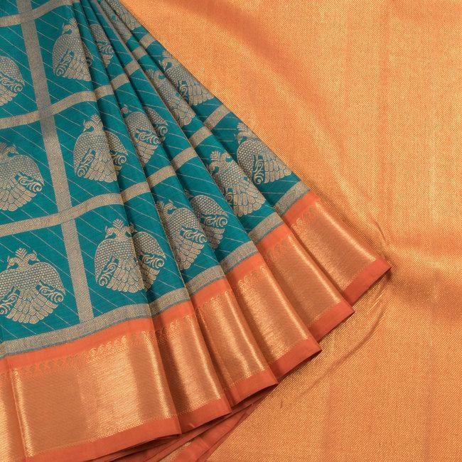 Subhashini Green Handwoven Korvai Kanjivaram Silk Saree With Checks & Iruthalaipakshi Motifs 10007723 - AVISHYA.COM