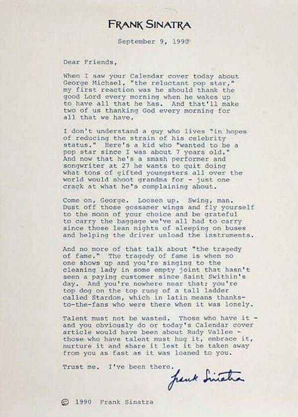 Letter of advice from Frank Sinatra to George Michael