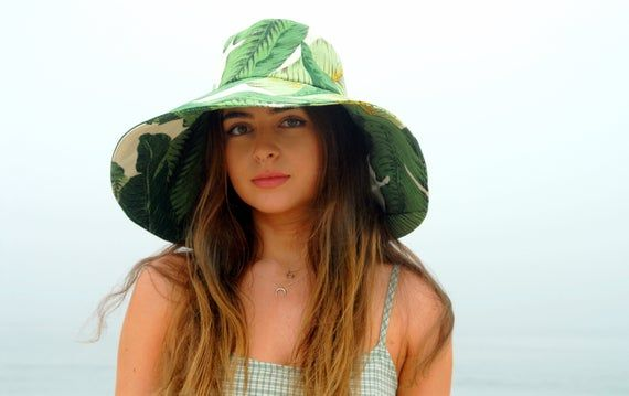 Cali Style Wide Brim Sun Hat In Tropical Print Vacation Hat