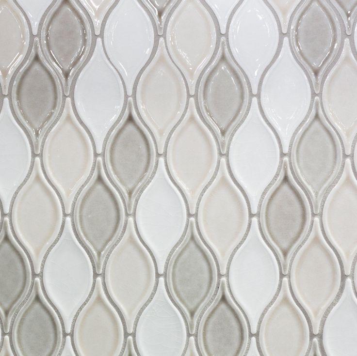 Bathroom Wall Accent Tiles For Florida Condo: Gray Blend Tear Drop Porcelain Mosaic