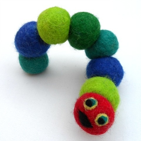 FELT CATERPILLAR  $25.00  Wonderful little caterpillar is the perfect decoration for a little bedroom.    Made from quality 100% wool felt eco-friendly products/dyes etc and handmade in Melbourne, Australia.    Size- approx 22cm long and approx 3cm wide