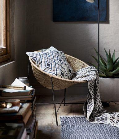 Alfombra estampada de algodón | Azul oscuro/Blanco natural | Home | H&M MX