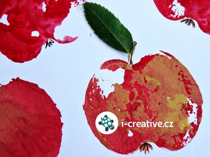 Podzimní výtvarka s nejmenšími - otisky jablíček nebo hrušek na papír či látku. Materiál: jablko / hruška listy jabloně Pomůcky: papír temperové barvy - červená, žlutá, hnědá ... pastelky tenký fix nebo tuš lepidlo Postup…