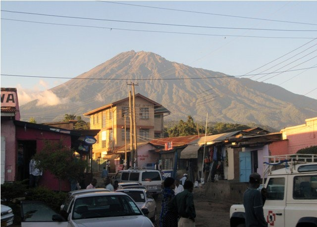 Typical street in Arusha, Tanzania, mount Meru in the background.
