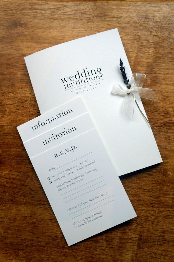 information on wedding invitation examples%0A Text Design A  folder and inserts invitation  created on ivory card with  charcoal  u    Democratica u     text  bridal white organza ribbon and finished with u