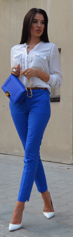 White Button Down Royal Blue Trousers by Laura Badura Fashion