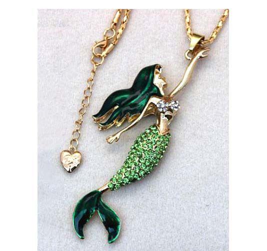 Mermaid pendant necklace green betsey johnson