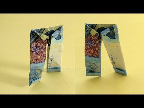 Geldschein falten Hose - Lustige Geldgeschenke basteln: Hochzeit. Origami Kleidung aus Geld, My