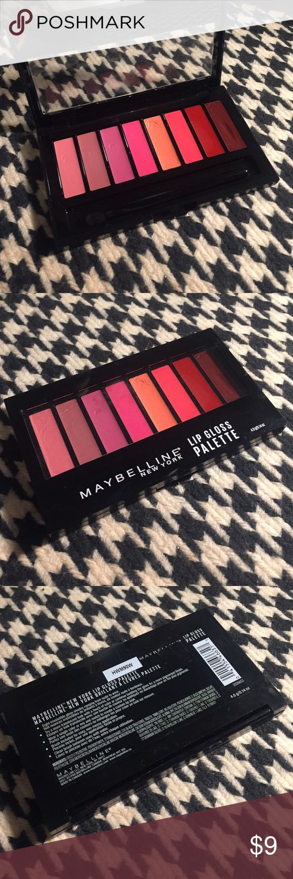 Maybelline Lip Gloss Palette Maybelline lip gloss palette. All colors have been swatched, none actually used. Maybelline Makeup Lip Balm & Gloss