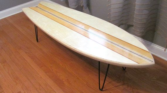 So excited to offer this retro fish surfboard coffee table. This board has realistic dimensions of a real fish. The board measures 48 Long by 16 Wide