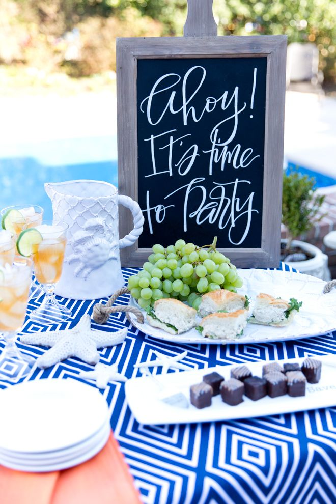 Nautical Party by the pool! Cute items with links to buy!: