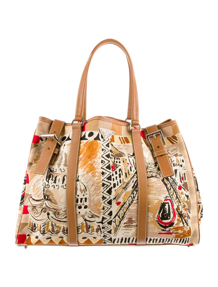 Limited edition beige, red and caramel multicolor Prada printed Venetian scene canvas tote with tan Saffiano leather trim