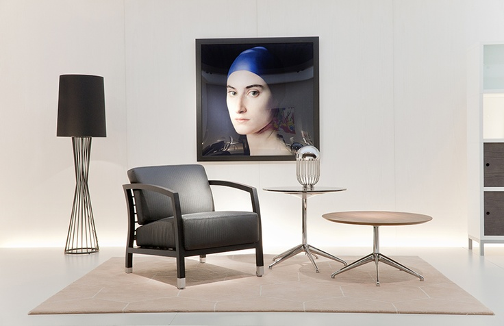 STUA's stand in Milano 2013. Malena armchair, Marea sidetables, Norma rug.