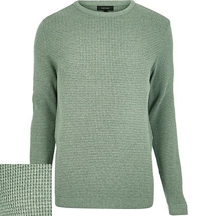 Light green textured waffle jumper £24.00