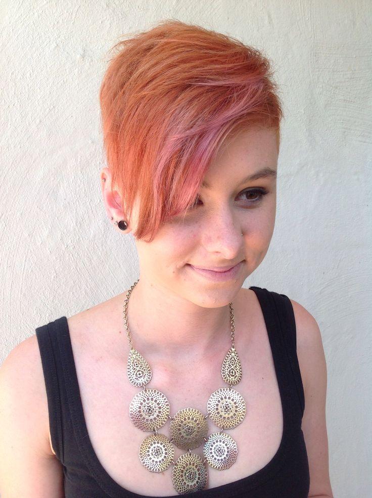 #pink #hair #copper #orange #shorthair #shavedsides #haircolour