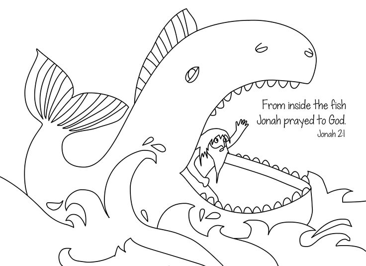 Jonah and the whale free bible coloring page from Cullen's Abc's.