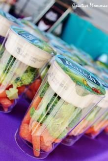 Clear Cup: Buy ranch dip and place on top of clear cups with veggies beneath! Gotta find these veggie cups perfect!!