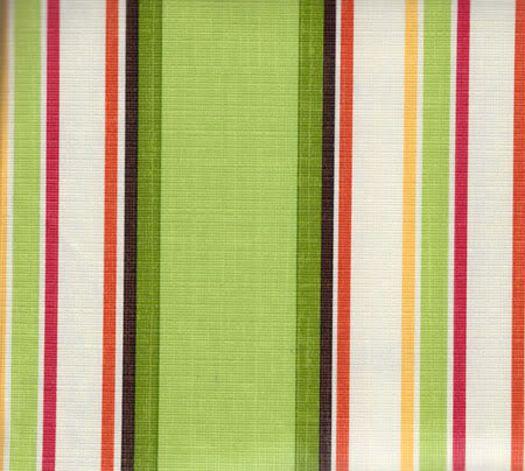 Multi Color Stripe Vinyl Tablecloth Green White Red Orange Flannel Backing  NEW