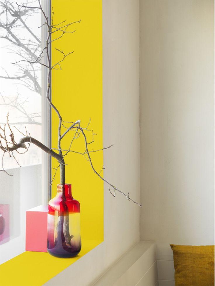 Meer kleur in je huis, maar wil je geen hele muur verven? Dan is dit een heel mooie oplossing!