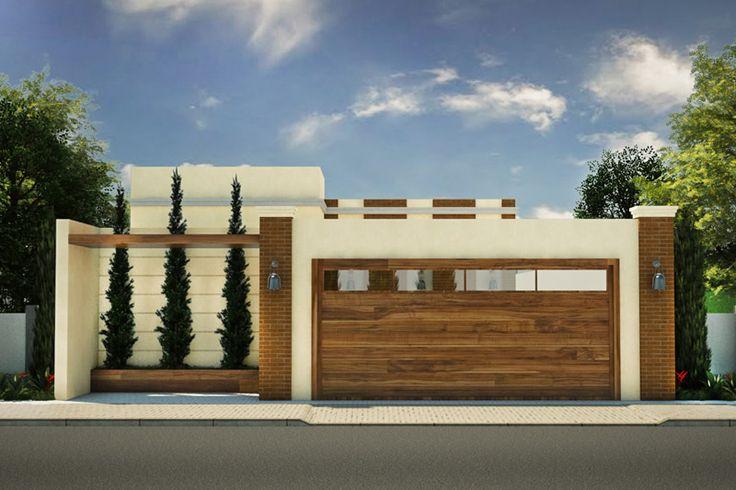 Planta de casa com portão de madeira - Projetos de Casas - Modelos de Casas