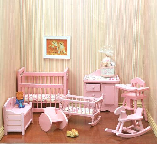 Great Mini Wooden Pink Baby Room Set Dollhouse Miniature .
