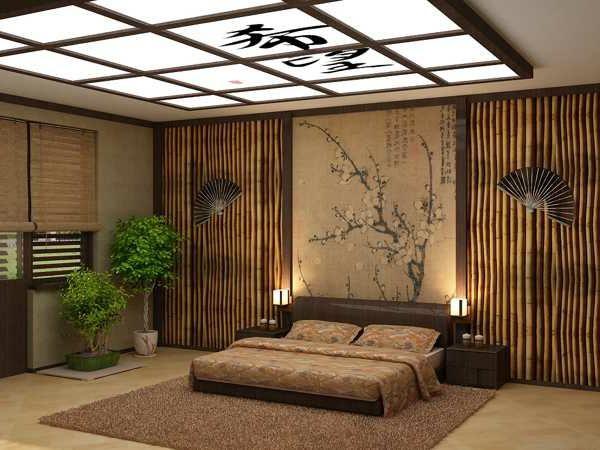 herrliches schlafzimmer im asiatischen stil ausgestattet. Black Bedroom Furniture Sets. Home Design Ideas