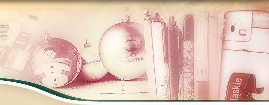 Agencja reklamowa - Kalisz. Nadruki firmowe na upominkach i akcesoriach reklamowych. Bombki, bombki z logo, bombki z nadrukiem, bombki reklamowe, bombki z logo klubu, bombki z logo miasta, pisanki, długopisy, koszulki, zapalniczki, czapki. Tampodruk, sitodruk, termotransfer.