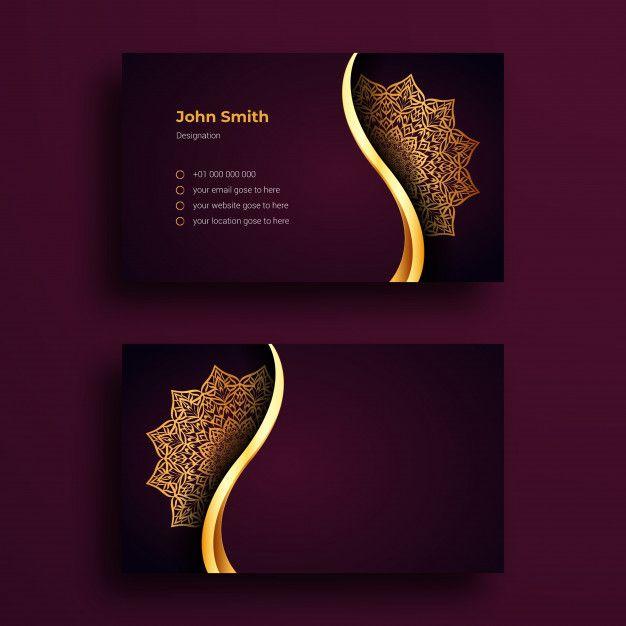 Business Card Template With Luxury Mandala Arabesque Design Luxury Business Cards Elegant Business Cards Design Business Card Template Design