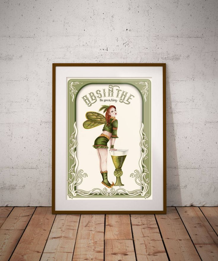 Absinthe Fairy, Fantasy art print, Green fairy, Art Nouveau, Digital download, Digital print, Teenage girl Wall Decor, Printable art, by DreamBigArtDesign on Etsy