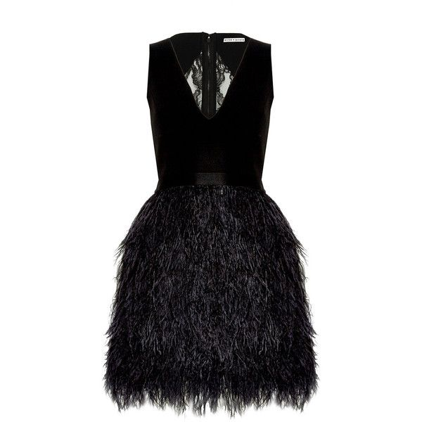 Alice + Olivia Kiara v-Neck Bell Shape Ostrich Feather Dress found on Polyvore featuring dresses, vestidos, flounce dress, vneck dress, ostrich feather dress, feather dress and frilly dress