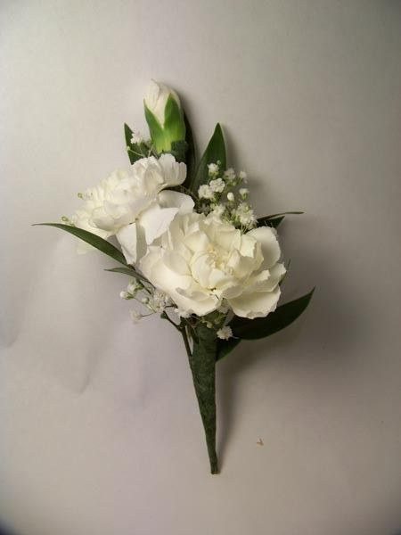 Double Mini Carnation Boutonniere in white for grandmoms and godmothers (wrist or pinned?)