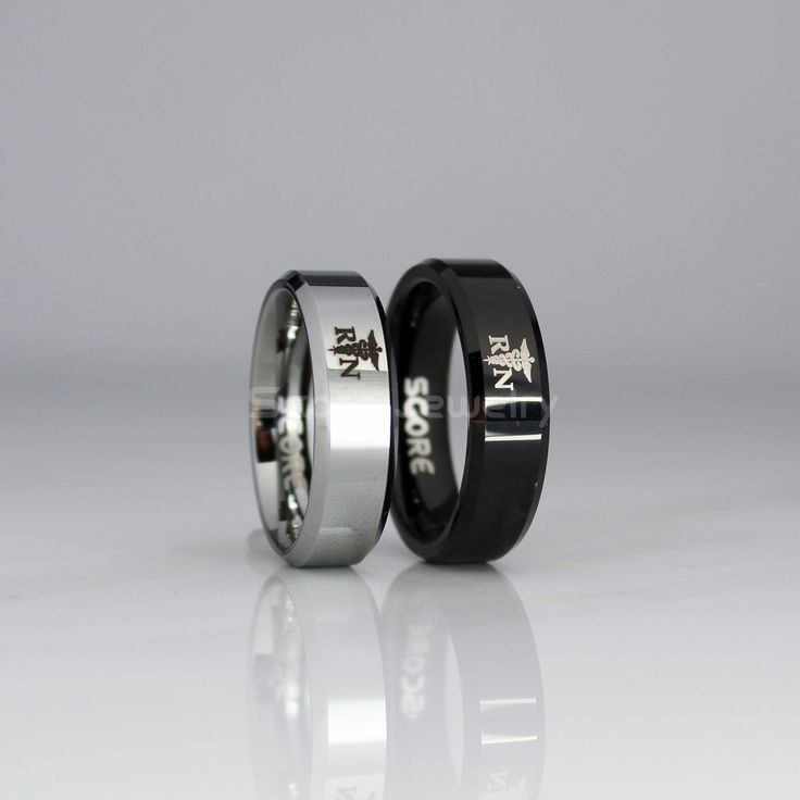 6mm Tungsten Band with Beveled Edge RN Registered Nurse Ring- 6mm Tungsten Ring by ScoreCustomJewelry on Etsy