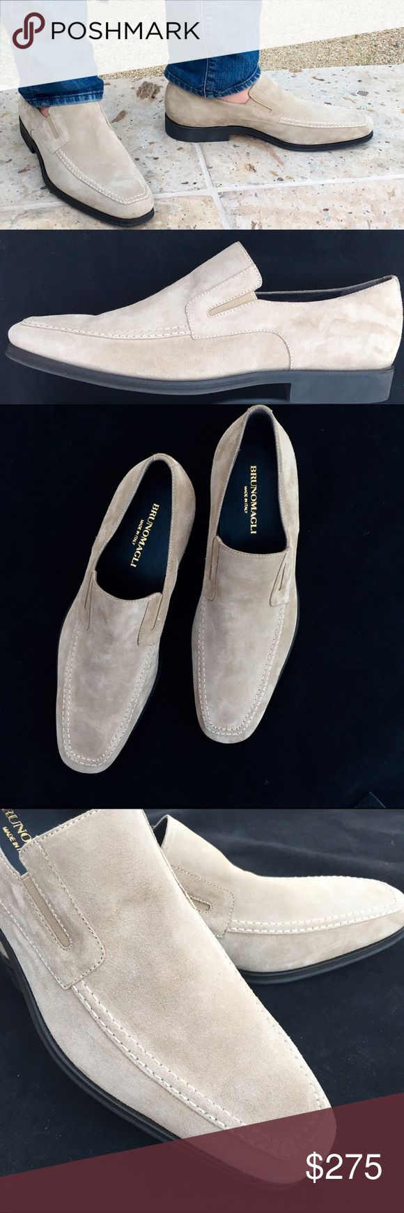 Bruno Magli Suede Leather, Beige Slip-on Loafers Beautiful brand new Bruno Magli, Raging, soft suede slip-on men's loafers, beige. Made in Italy. Never been worn. Size 9.5 Bruno Magli Shoes Loafers & Slip-Ons