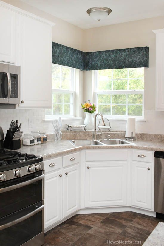 DIY window cornices- Our kitchen is almost this exact layout. Look how great a remodel would be ;)