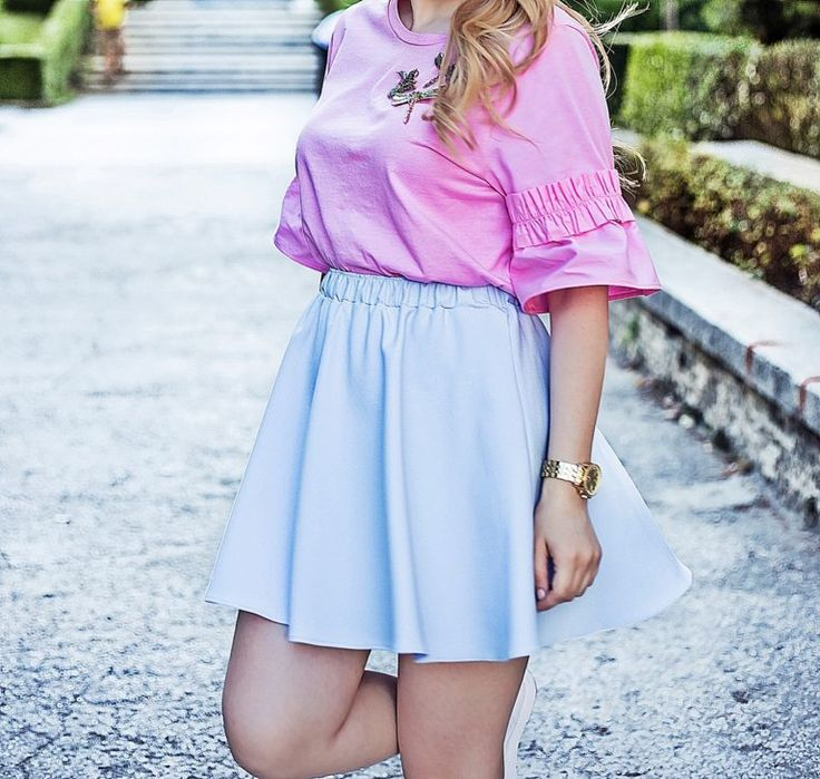 Baby blue skirt and pink blouse