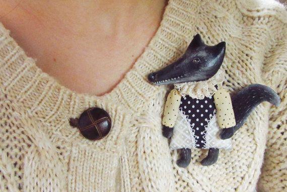 Fox brooch,Silver fox,Black Fox,jewelry fox,fox pin,Textile art brooch,mixed media, hand painted jewelry,gift for hear,fox art,hand made
